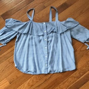 Off the Shoulder pin stripe button down blouse